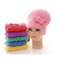 Wholesale Lovely Romantic Bowknot Coral Velvet Strong Water Absorption Hair Dry Shower Bath Caps WA0883