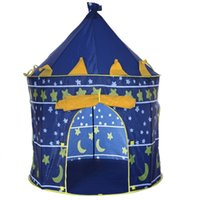 Wholesale Colors Portable Foldable Play Tent Prince Folding Tent Kids Children Boy Castle Cubby Play House Kids Gifts Outdoor Toy Tents