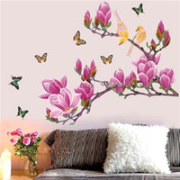 Graphic Vinyl Acrylic Still Life Newest Stylish Magnolia Flower Tree Butterfly Birds Wall Stickers Poster Home Decoration Art Decal Wallpaper Removable