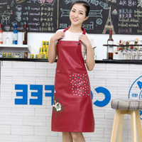 Wholesale kitchen cooking tools labor thickened lengthening waterproof leather apron acid stain repellency chef kitchen apron