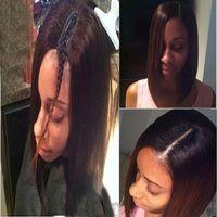 Wholesale 100 Unprocessed Short Bob U Part Human Hair Wigs Black Women Brazilian Hair Wig A Silky Straight Upart Wigs For Sale