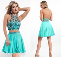 aqua mini dress - Sparkly Crystal Bodice Homecoming Dresses illusion Neck Aqua Chiffon Pleated Hollow Back Mini Short Prom party Evening Dress Gown