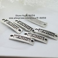 antique metal letters - Slightly Curved Rectangle Letter FAITH Jewelry Connectors for Bracelets Antique Silver Metal Alloy Connector mm