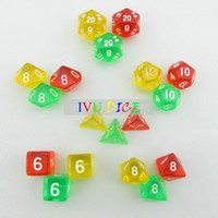 Wholesale 18pcs DND Table BOARD GAME Dungeons Dragons number dice Color Transparent RED GREEN YELLOW Party Children dices WITH BAG IVU