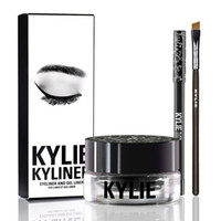 Wholesale 2016 BRAND NEW Kylie Cosmetics By Kylie Jenner Kyliner In Black Brown with Eyeliner Gel pot Brush
