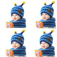 Wholesale Delicate Hot Fashion Kids Baby Cute Baby Cute Winter Baby Wool Hat Hooded Scarf Earflap Knit Cap Toddler Ju24