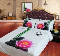 bamboo flowers bedding - JF Simple Elegant bedding set bamboo pebble stones lotus flower print D quilt cover set single super king size available