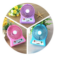 Wholesale Protable USB Mini Fan Multifunctional Rechargerable Electric Fans Kids Table Fan LED Light Battery Adjustable Speed Multi Color