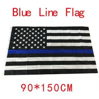 american police - 90 cm BlueLine USA Police Flags x5 Foot Thin Blue Line USA Flag Black White And Blue American Flag With Brass Grommets F737