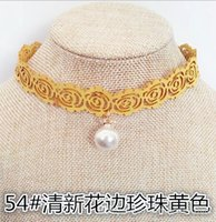 Wholesale 0Lolita Harajuku collar female short paragraph clavicle chain necklace sweater chain neck strap female strength chain Fresh lace pearl parag