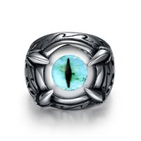 Wholesale Blue Evil Eye Trendy Band Ring Never Fade L Stainless Steel Fashion Men Jewelry With GIFT BOX MGC GR380