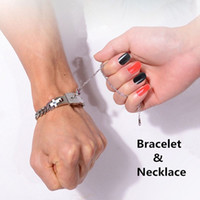 Wholesale Fashion Jewelry Couple Titanium Steel Bangle Bracelet and Key Pendant Necklace Sets