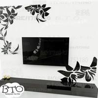 best design sofa - Creative diagonal elegant plant flower large wall mirror stickers best DIY decoration for TV sofa background interior decor R008