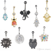 Wholesale Rhinestone Hamsa Elephant Owl Navel Belly Button Rings Navel Bar Body Piercing