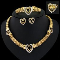 Wholesale African Costume Piece Jewelry Set Gold Plated Fashion Necklace Earrings Bracelet Fine Rings for Women Crystal Accessories