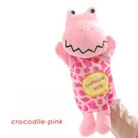 Wholesale 2016 New autumn toys Cute cartoon Panda girl dolls Animal toys Plush gloves toys Crocodile dolls baby puppet toys colors styles