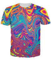 Wholesale Oil Spill T Shirt psychedelic swirl of vibrant colors d Print t shirt Women Men Tees Sport Tops Summer Style Outfits Plus Size