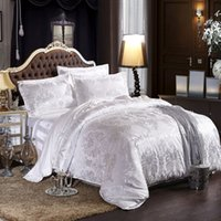 Wholesale 4pcs Fantasy Sonata High Quality Silk Tencel satin Jacquard Bed linen Bedding set Queen king size Bedclothes Duvet cover set