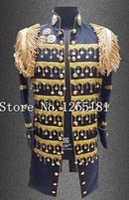 bar top coating - Court Style Long Jacket For Men Paillette Epaulets Tassel Coat Men s Clothing Stage Wear Costume Nightclub Dress Bar Singer Top