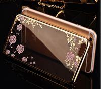 2016 горячий цветок сада дизайн диаманта TPU мягкий чехол для iphone 6 гальванического высокого качества телефона чехол для iphone 6plus