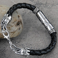 Wholesale Fashion Hot Sell Tibet Silver Braided Black Leather Men Bracelet Wristband Cuff Men Biker Chain Bracelet For Women
