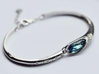 austria quality - New Fashion Sterling Silver Austria Crystal Bracelet CZ Diamond bangles bracelets high quality leather for wedding dresses