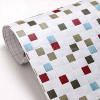 bathroom mosaic tile designs - High Quality Korea Mosaic Tile Wall Sticker Meters Roll PVC Wallpaper For Kitchen Bathroom Walls Papel de parede para quarto