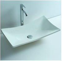 bathroom vanities tops - Rectangular Bathroom Solid Surface Stone Counter Top Vessel Sink Fashionable Cloakroom Stone Vanity Wash Basin RS3808