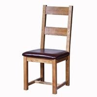 Wholesale HUAYI Solid Oak and Brown Leather Dining Room Chairs