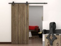 Wholesale 6 FT Dark Coffee Country Barn Wood Steel Sliding Door Closet Hardware Track Set