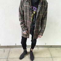 Wholesale 2016Rare New Fear Of God Hip Hop Mens Dress Shirt Plaid Shirts Long Sleeve Damage Green Plaid Man Autumn Cotton Long Shirt