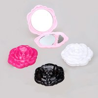 Wholesale Stereo Rose Flower Shape Mirror Portable Pocket Mirror Cosmetic Makeup D Double Sided Mirror Novelty Item for Girl Women