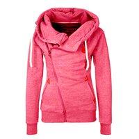 Wholesale Fashion women s casual side zipper hooded sweatshirt Cardigans sweater coat Jacket plus size S XXL