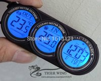 Wholesale LCD Screen In out digital Car Thermometer Clock Alarm Calendar two colors blue orange backlight D