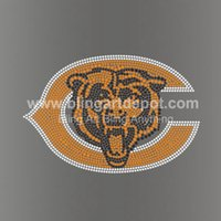 Wholesale Bears Rhinestone Heat Transfers Chicago Hotfix Motifs For Sport Wears Free Cost Custom Design Available