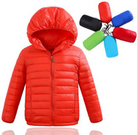 Wholesale 2016 new Arrived Kids hooded down jacket children light sport down coat outerwear lightweight jacket warm duck down coat