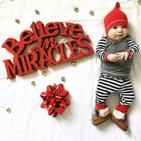 Wholesale Cute Red Black Outfits - 2016 Christmas baby boy girl suits 3PCS Newborn children Boys Girls Infant cute T-shirt+striped Pants+hat Clothes sets cotton Outfit Sets
