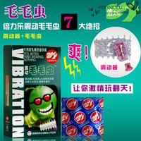Wholesale Multifunction Condoms G Spot Vibration Condoms Cartoon Caterpillar Penis Rings Spiny Vibration Penis Ring Sex Toys