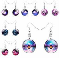 Wholesale 2016 Poke Mon Poke Ball Earrings Poket Monster Pikachu Glass Gems Jewelry Sets Christmas Gift Gemstone Jewelry