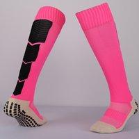 al por mayor calcetines de color rosa-2016 Rosa deportivo antideslizante bloque de goma de fútbol calcetines de algodón de fútbol largo calcetín hombres overknee Calcetines Deportes tubo gruesa calcetines