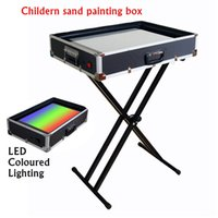 Wholesale Children Practice Sand Painting Table Kids Hand operated DIY Sand Animation Box New Fancy Crazy Sand Art LED Coloured Light