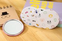 Wholesale 2016 Lovely Mini Ladies Compact Mirrors Hand painted Small Portable Mirrors Assorted Patterns Cartoon Cosmetic Makeup Mirrors