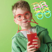Wholesale Hot Crazy DIY straw Creative Fun Funny Soft Glasses Straw Unique Flexible Drinking Tube Kids Party Accessories