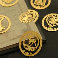 Wholesale 20pcs Exquisite Cartoon Gold Color Metal Book Clip Bookmarks Reading Supplies School Tools Creative Papelaria