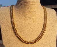 9ct gold - SOLID K CT Yellow GOLD Open LINK Wide CHAIN NECKLACE quot S08B MENS WOMANS real gold not solid not money