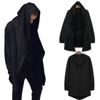 Wholesale 2016 Fashion Men s Hooded With Black Gown Sudaderas Hombre Hip Hop Hoodies and Sweatshirts long Sleeves Jackets Coats