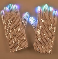 Wholesale LED Light Up Rave Silver Sequin Gloves Color Changing LED Flashing Gloves Colorful Light Flash Finger Glove for party
