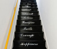 acrylic stair - Stairs WordArt Love Live Laugh Dream Mirror Letter Wall Stickers Room Decoration Acrylic Mirrored Decorative Sticker