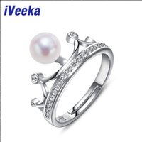 Wholesale iVeeka mm Perfect Round Pearls Rings Serling Silver Sparkling Crown Wedding Ring Natural White Pearl New Design Flower Ring