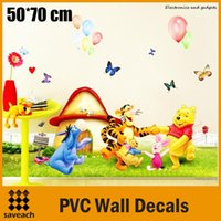 Wholesale 2015 New Winnie the pooh Movie Giant Peel And Stickers Giant Wall Decals PVC Kids Christmas Party cm Wall Art Wallpaper